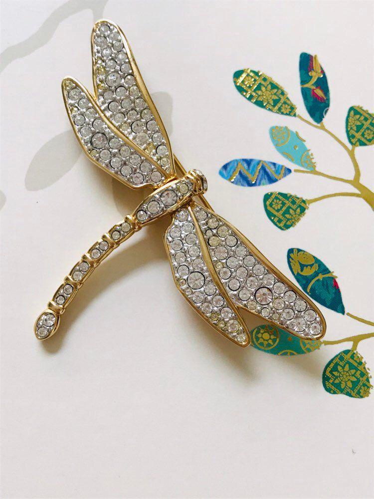 Swarovski White Crystal Dragonfly Brooch, Swarovski Swan Mark in
