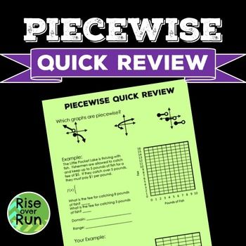 Piecewise Functions Quick Review Free Algebra I Linear Function Calculus