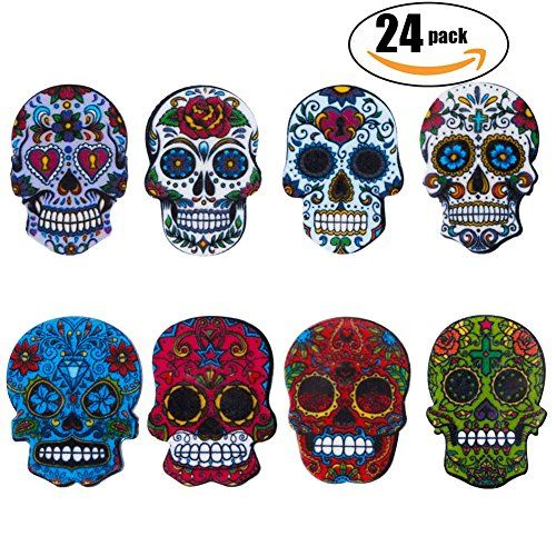 Candy Skull Silicone Drink Beverage Coaster 4 Pack
