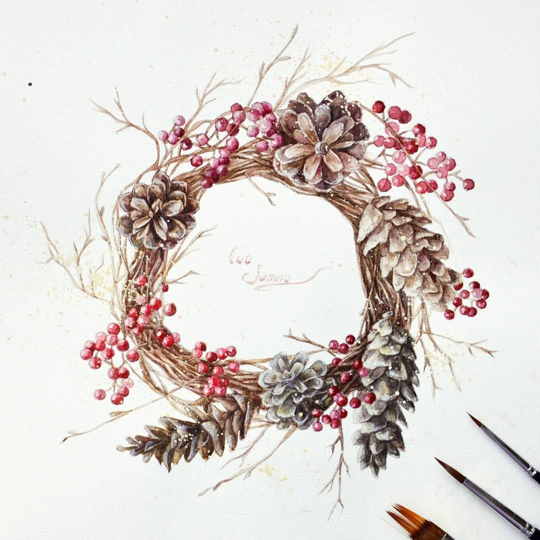 Картинки рождественский венок акварелью