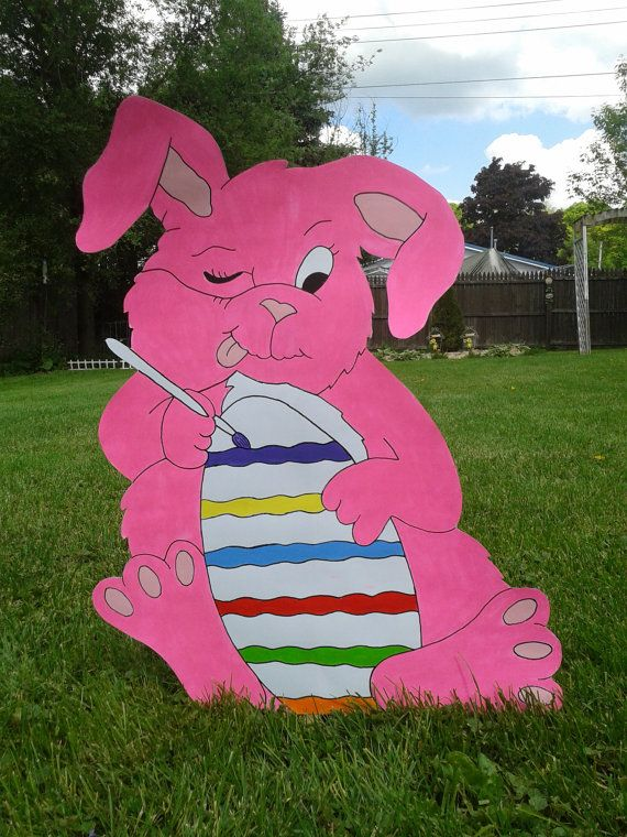 easter bunny egg painting outdoor wood yard art lawn decoration