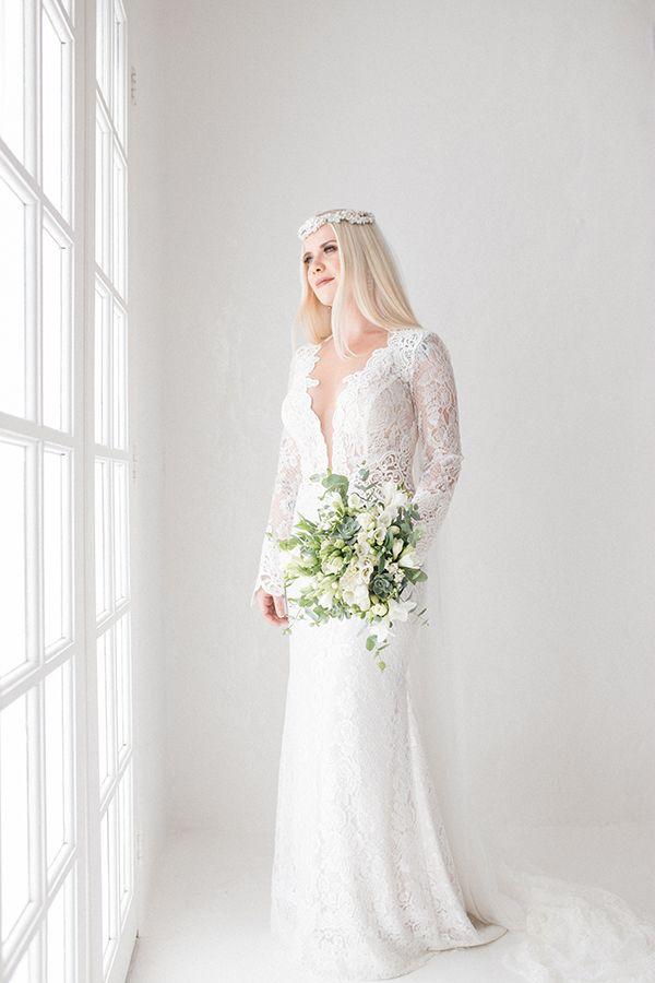 Ana Carolina Favano - vestido de noiva renda Berta Bridal ( Foto:18 Elementos )