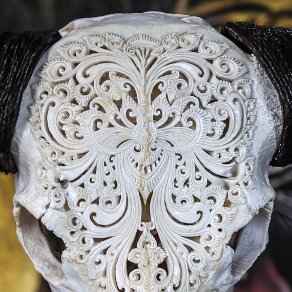 Hand Carved Swirls BUFFALO Skull Longhorns / Horns/ by AureusArts