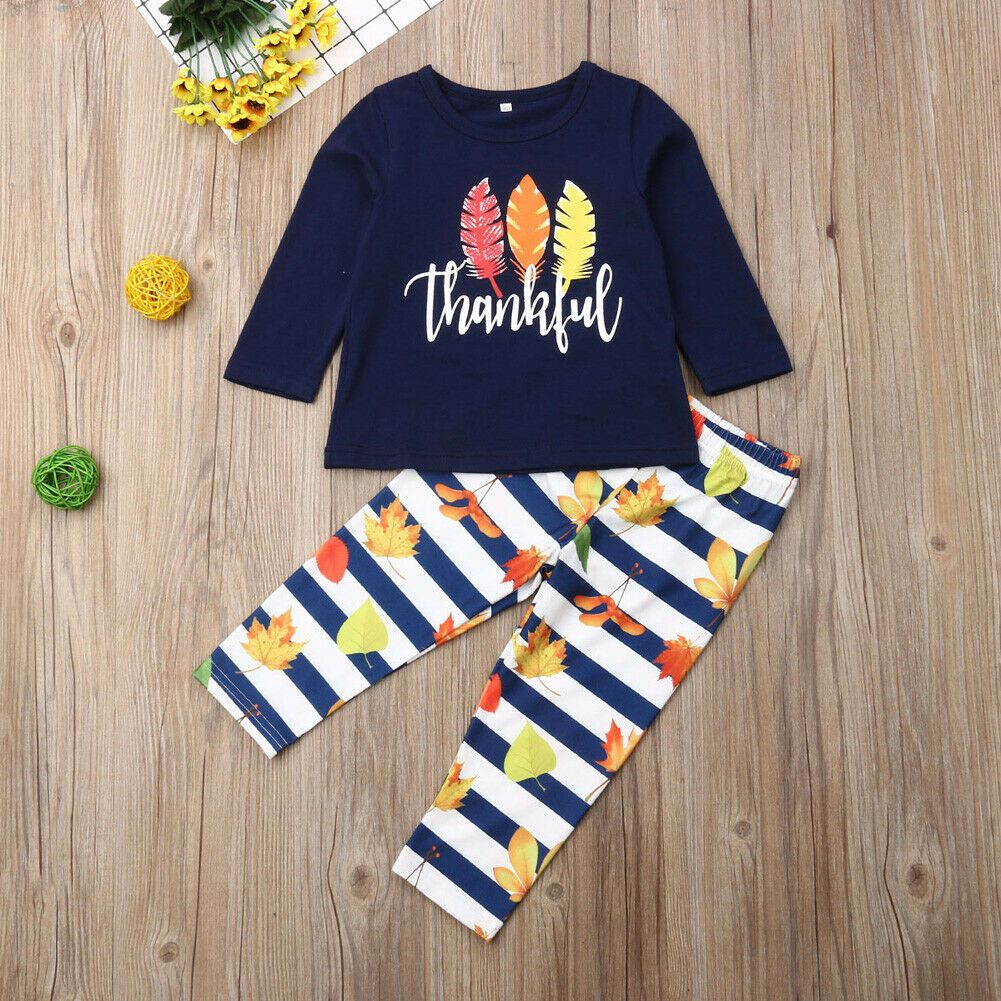 US Toddler Baby Kids Girl Clothes Top T-shirt Pants Leggings Outfits 2PCS Sets