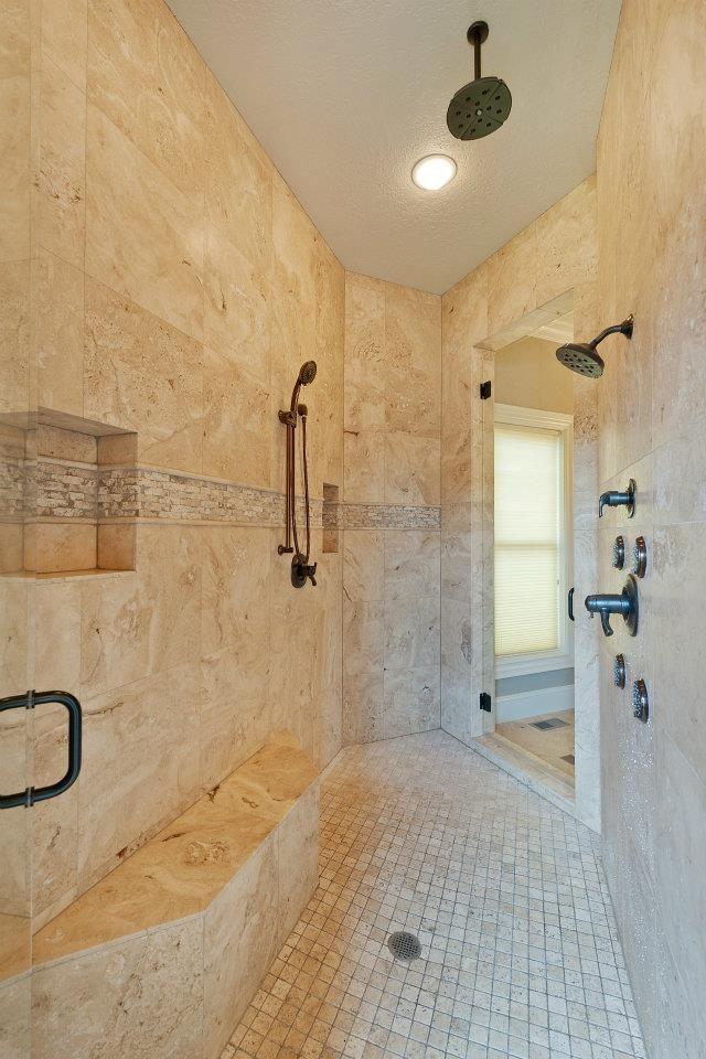 built in makeup vanity behind walk through shower wall ...