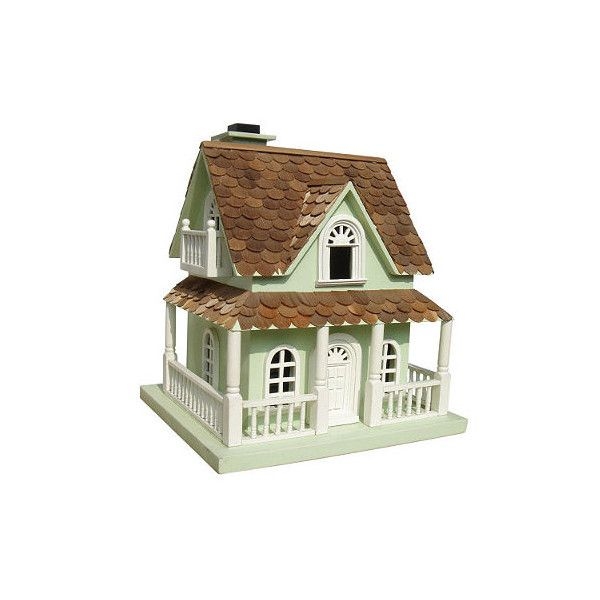 Mint Cottage Birdhouse (1 580 SEK) ❤ liked on Polyvore featuring home, outdoors, outdoor decor, outdoor ornaments, chickadee bird house, wren bird house, frontgate and outside bird houses