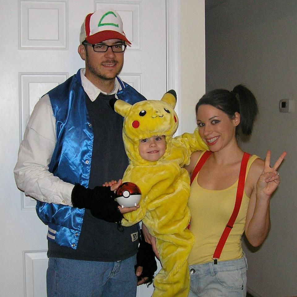 Pokemon family costumes ash pikachu misty to for Creative toddler halloween costumes
