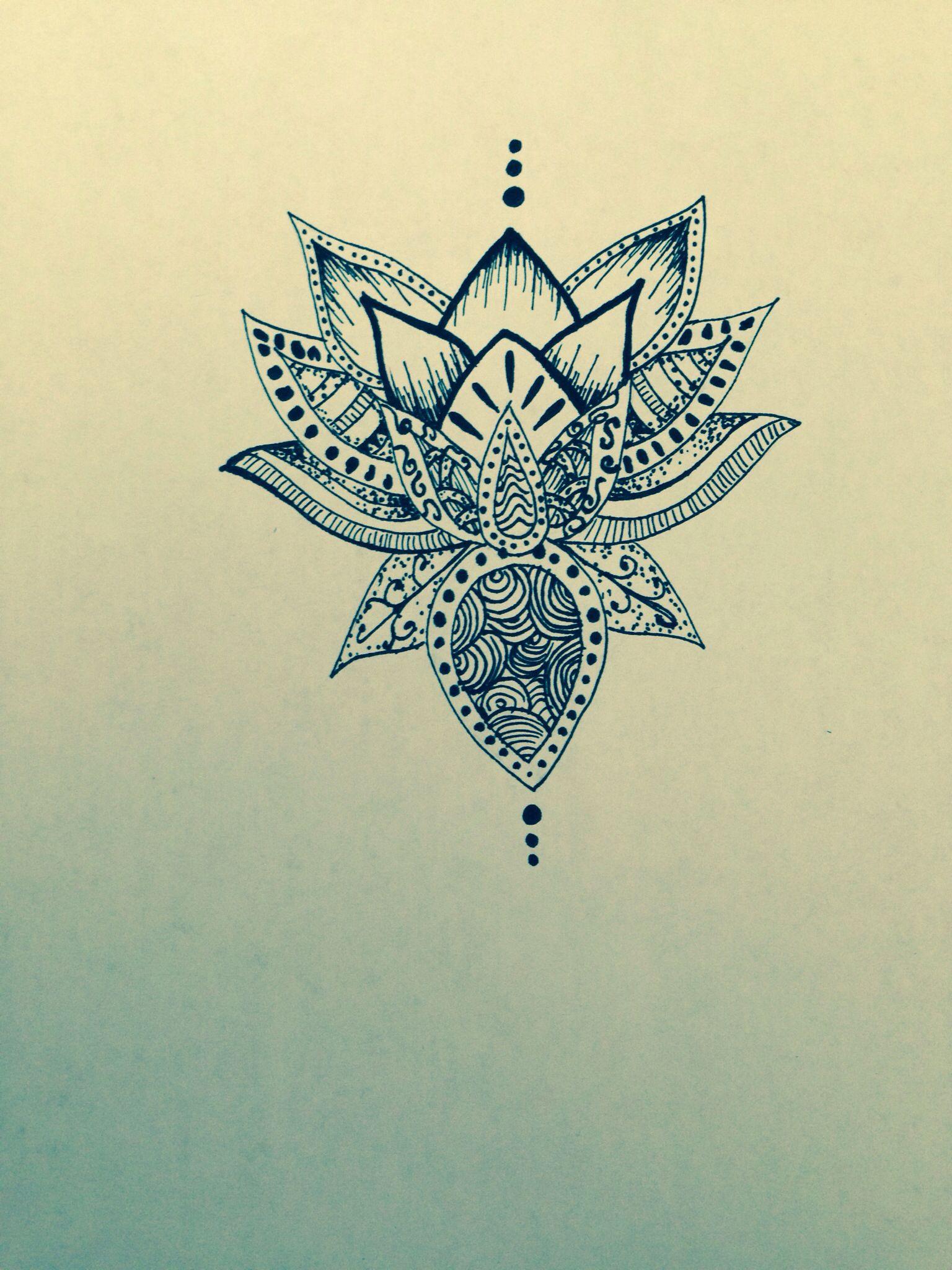 Lotus flower drawing sharpie Fiore di loto Pinterest