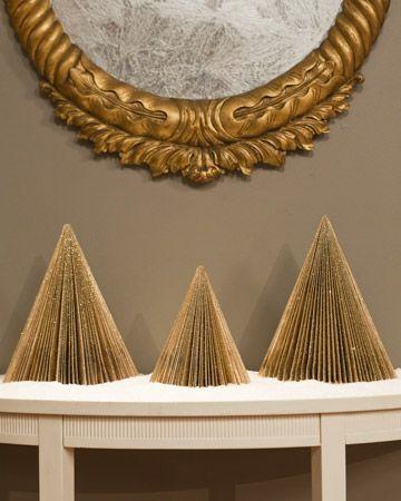 magazine glitter christmas trees - recyling + DIY decorating!