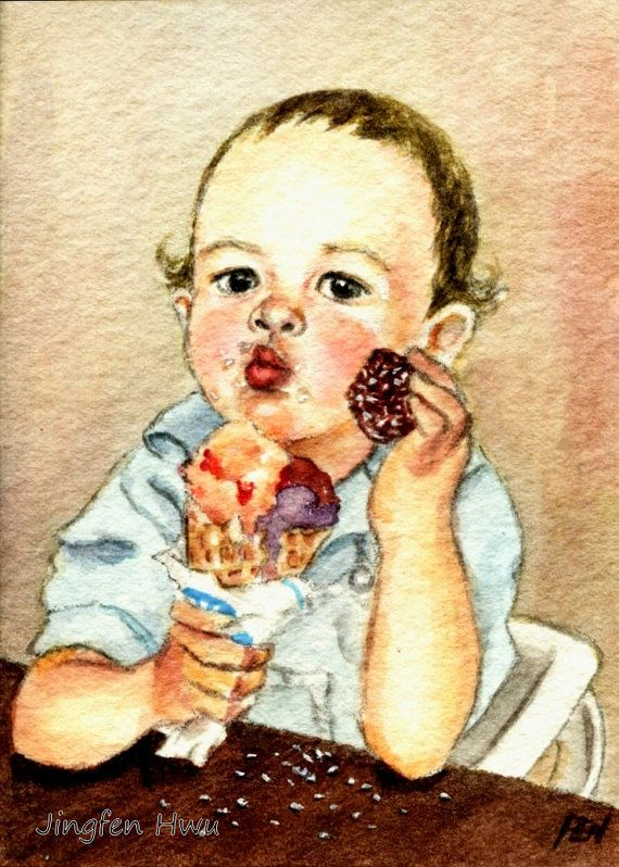 Aceo Art Print Child Painting A Greedy Boy With Ice Cream
