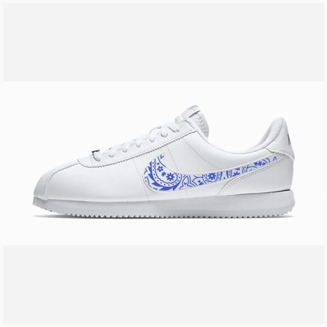 best loved c9f1f 76a84 Bandana Fever Royal Blue Bandana Print Custom White Nike Cortez Shoes   bandoez  style  bandana  shopping  fashion