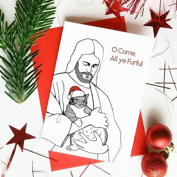 funny christmas card o come all ye furful sending christmas cheer