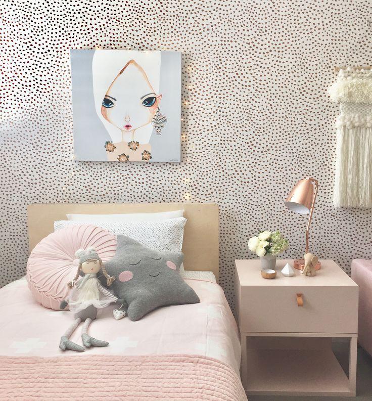 Image result for grey pink girls room wallpaper