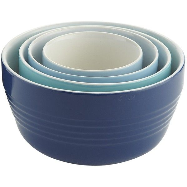 Pier One Stoneware Mixing Bowl Set (17 CAD) ❤ liked on Polyvore featuring home, kitchen & dining, kitchen gadgets & tools, blue bowl, blue stoneware, pier 1 imports and stoneware bowl