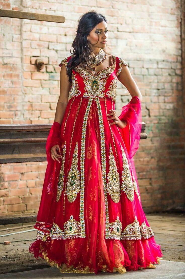 Coral Wedding Pakistani Dress