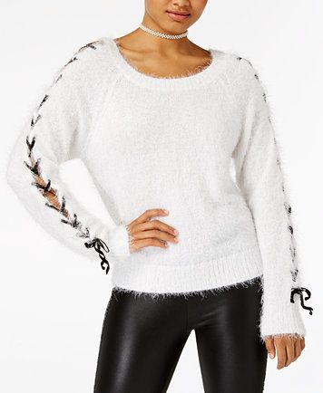 The Edit By Seventeen Juniors Chenille Lace Up Sweater Macyscom