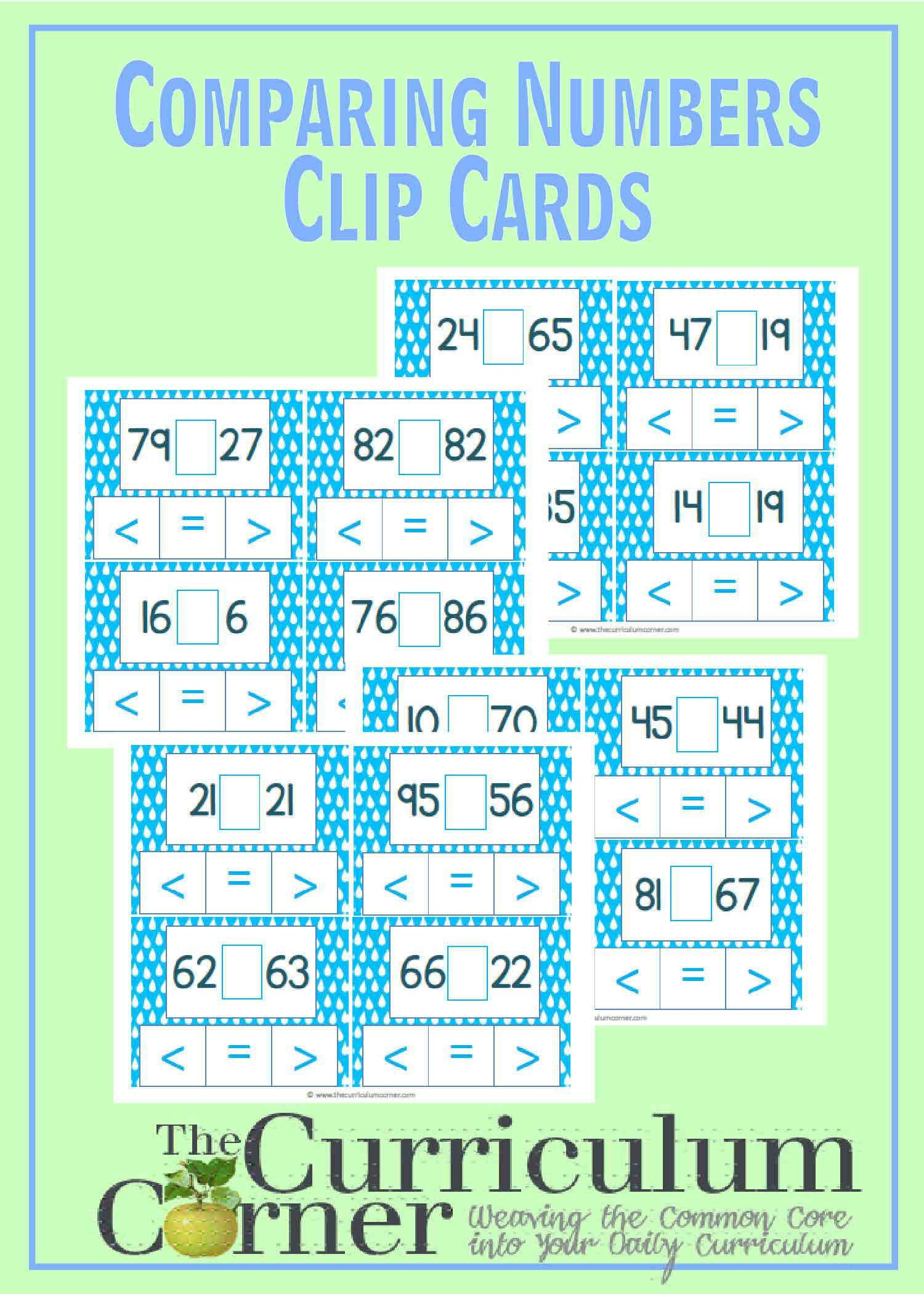 Comparing 2-Digit Numbers Clip Cards | Comparing numbers, Curriculum ...