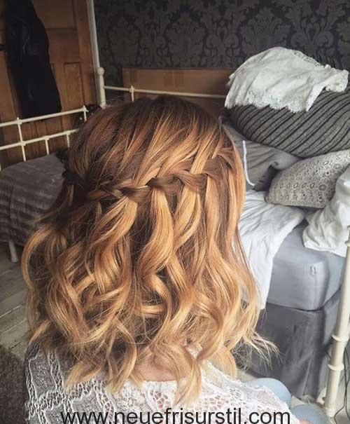 Wasserfall Flechten Kurze Haare Frisur Hochzeit Frisuren Kurz