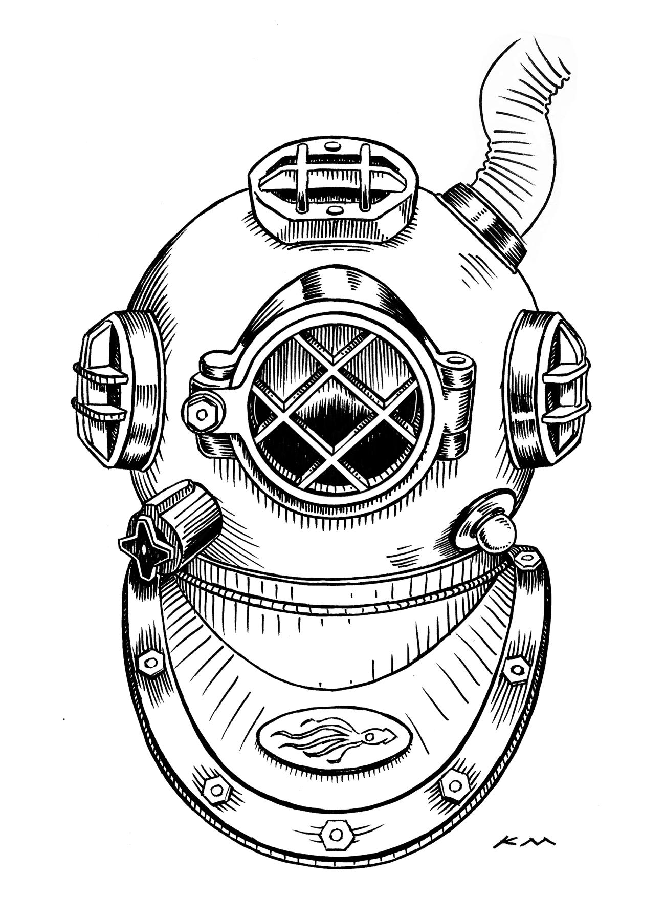 """Diving Helmet"" (c) Ken Molnar 2013. Ink on paper ..."