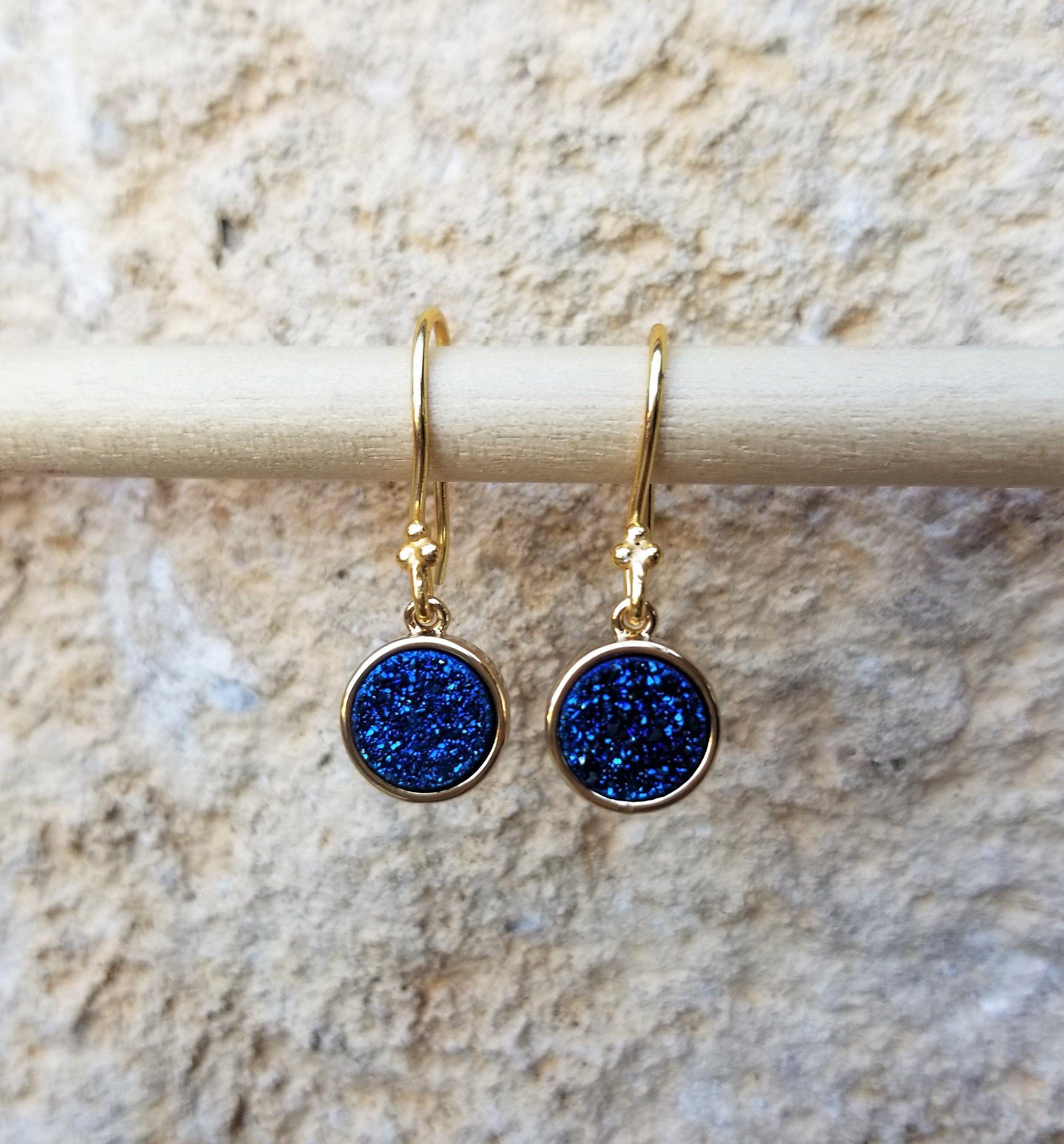 Druzy Brass Earrings Brass Charm Earrings Festival Jewellery Festival Jewels Gypsy Earrings Blue Boho Earrings Oracle Earrings