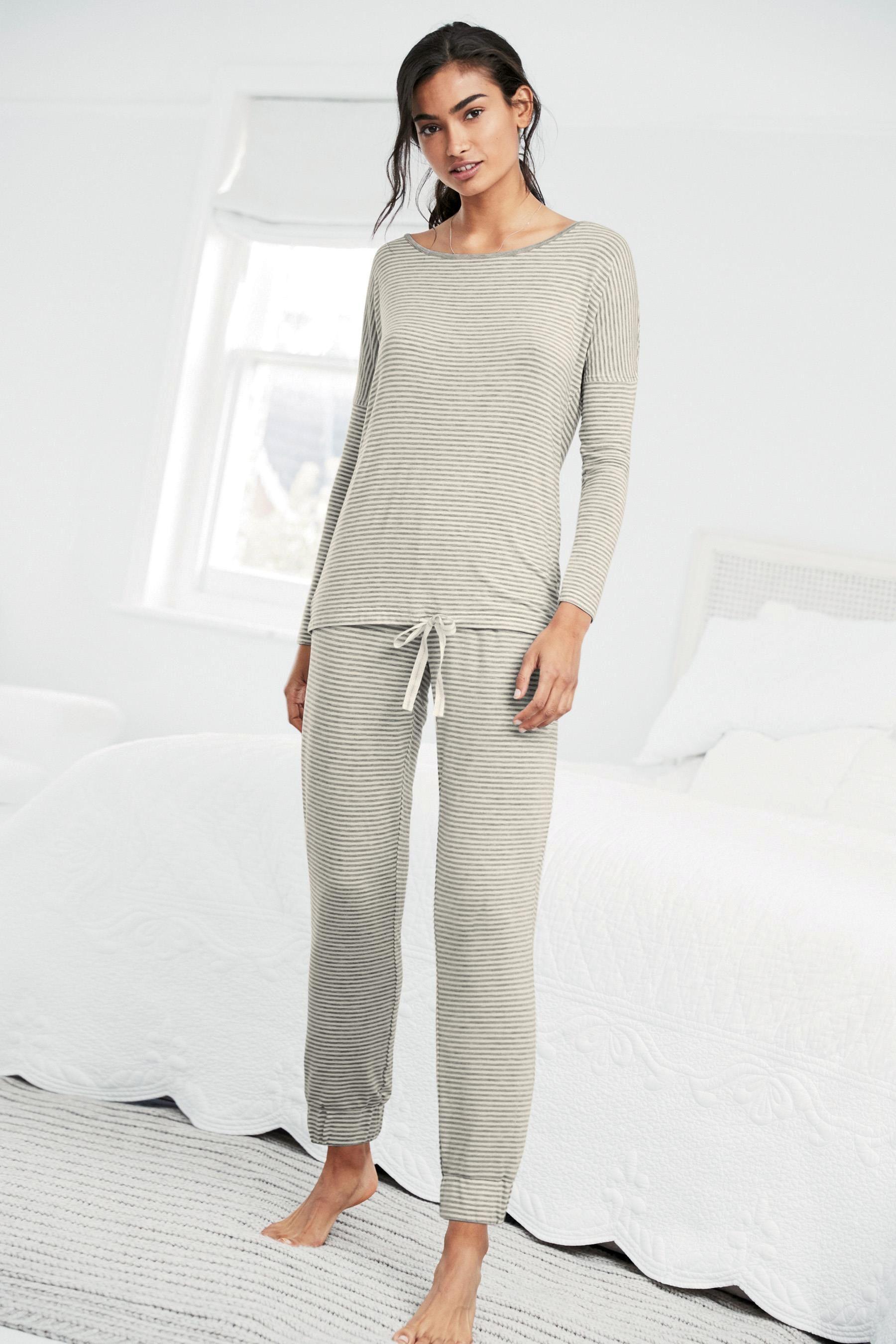 56d2091cf Buy Grey Stripe Supersoft Cotton Modal Pyjamas from the Next UK online shop