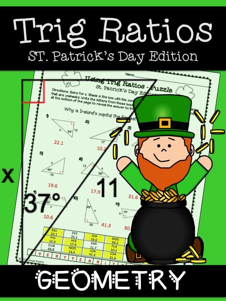 Geometry St Patricks Day Activity Trig Ratios Activities Math