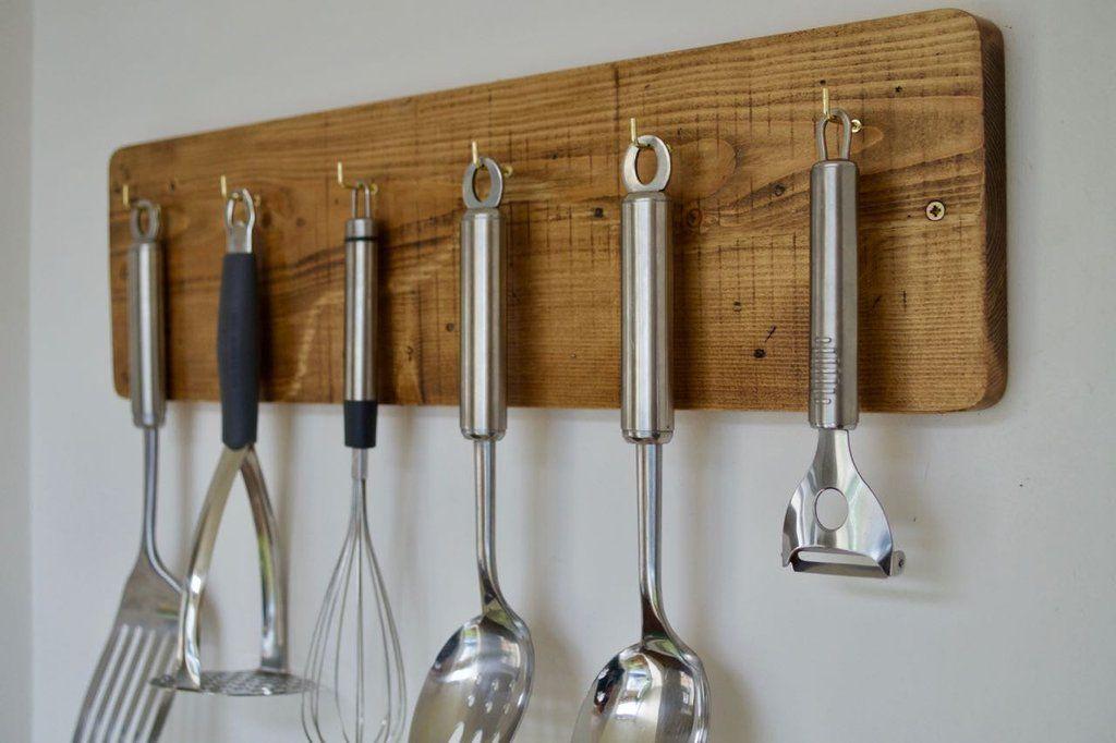 wooden kitchen utensil rack holder farmhouse style shabby chic with 6 hooks in 2020 wooden on farmhouse kitchen utensils id=68981
