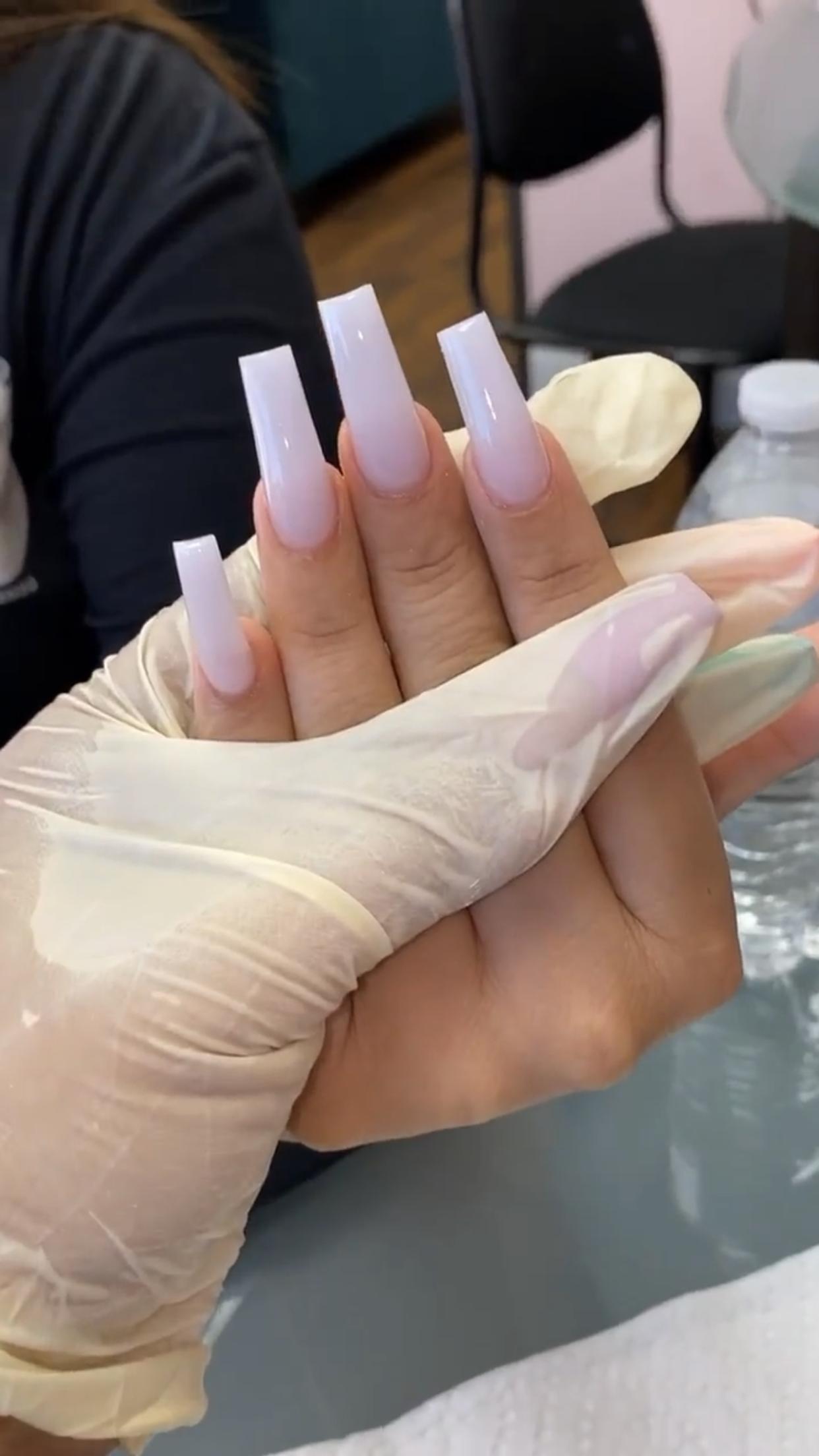 Milky White Medium Tapered Square Acrylic Nails In 2020 Square Acrylic Nails Acrylic Nails Long Nails