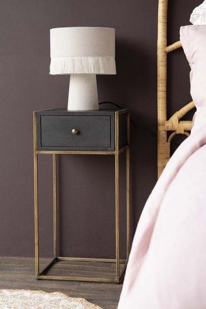 Black Metal Bedside Tables: Black Wood & Brass Leg Bedside Table