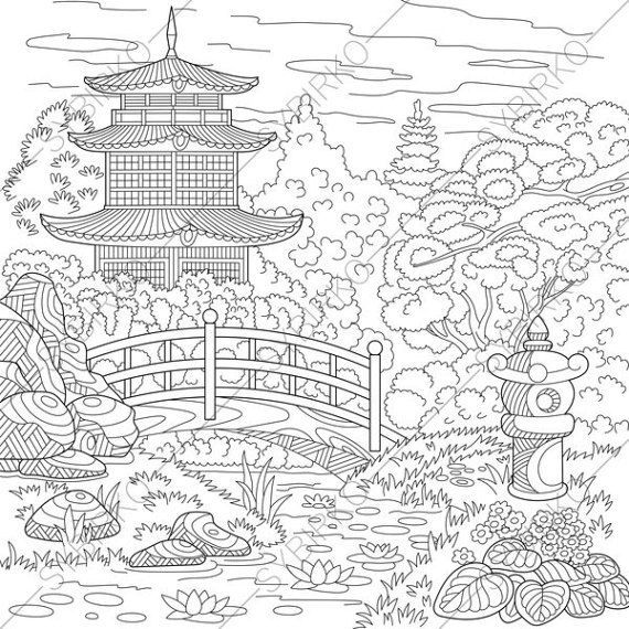Coloring Pages Of Asian Pagoda Zentangle By Coloringpageexpress