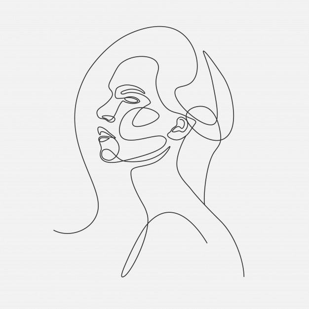 Woman head   lineart illustration. one l... | Premium Vector #Freepik #vector #woman #line #face #art