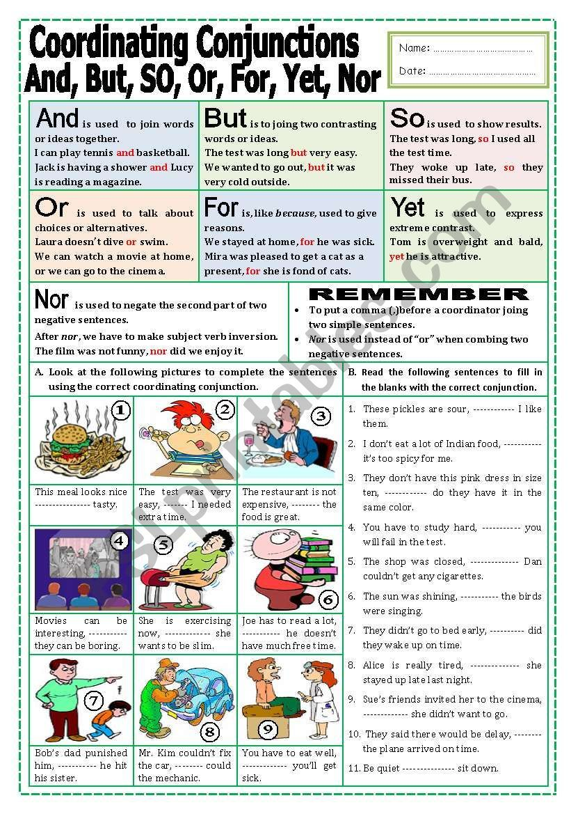 This worksheet includes explanation on the use of the coordinating  conjunctions and two …   Teaching conjunctions [ 1169 x 821 Pixel ]