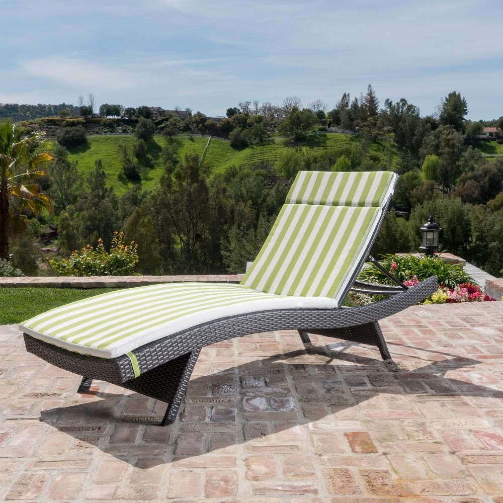 Noble House Miller Grey Armless Wicker Outdoor Chaise