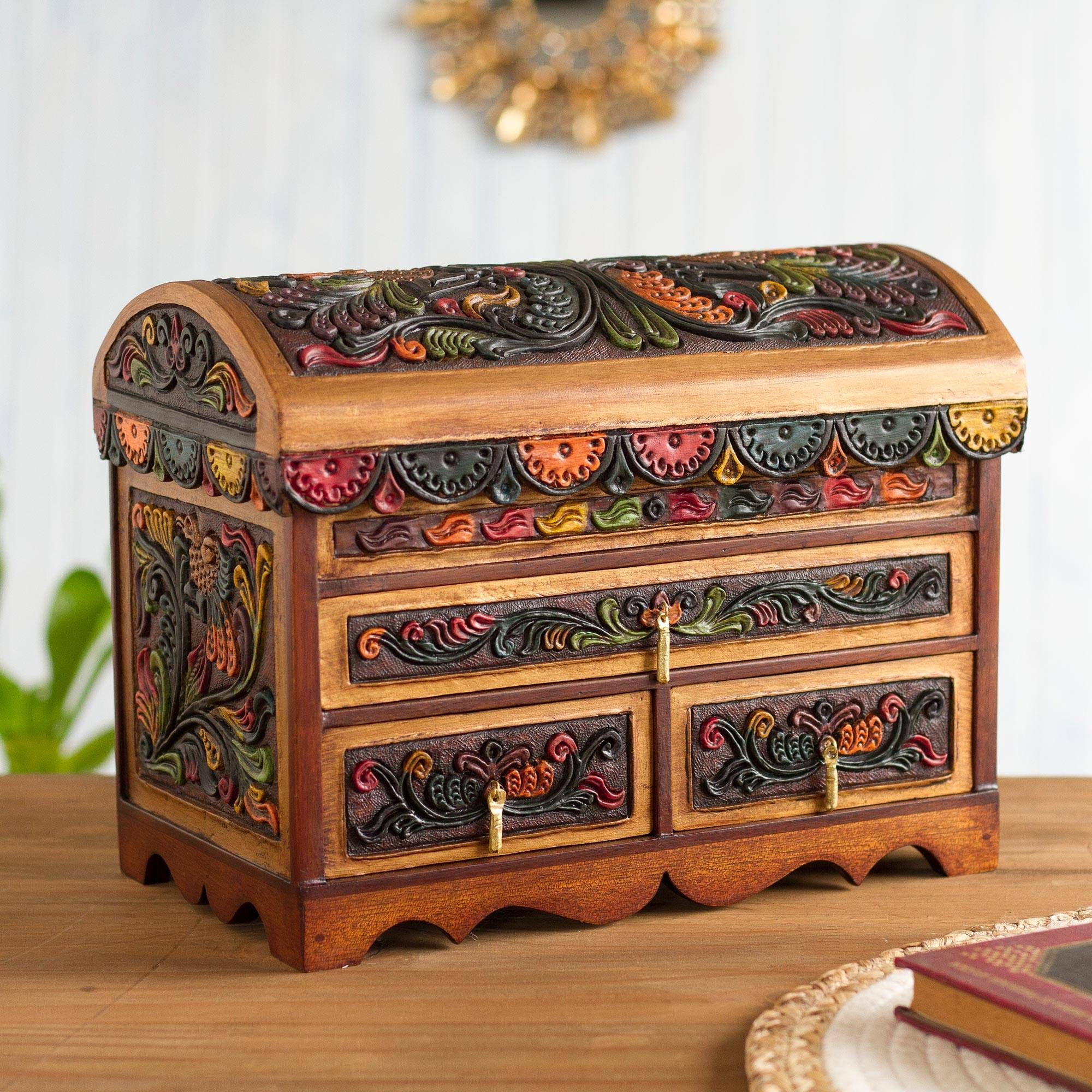 Leather And Wood Jewelry Box Shimmering Hawk Leather Jewelry Box Wood Jewellery Wood Jewelry Box