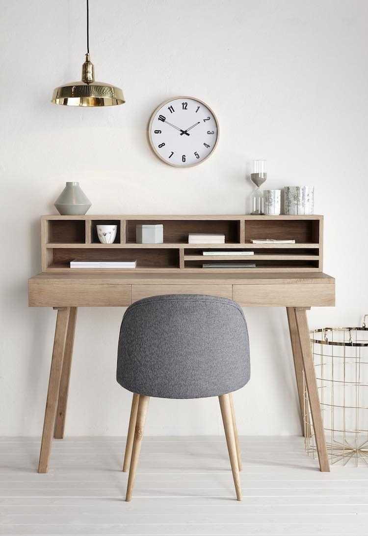 Skrivebord og reol i egetræ fra Hübsch i høj kvalitet med unikt ...