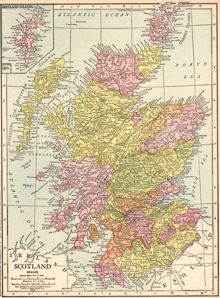 1915 Antique SCOTLAND MAP Gallery Wall Art Vintage Map of Scotland