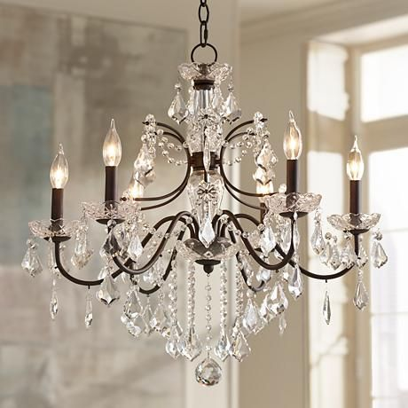 Beverly 26 Quot Wide Dark Bronze Frame Clear Crystal Chandelier 4f449 Lamps Plus Chandelier