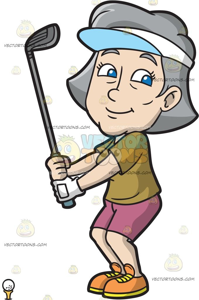 A Fun Mature Woman Enjoying A Game Of Golf :  A mature woman with gray hair wearing a white visor with light blue brim army green shirt pale reddish pink shorts orange with yellow soles left hand in white glove smirks while holding up a gray golf club as she prepares to tee off the white golf ball on a yellow tee in front of her  The post A Fun Mature Woman Enjoying A Game Of Golf appeared first on VectorToons.com.