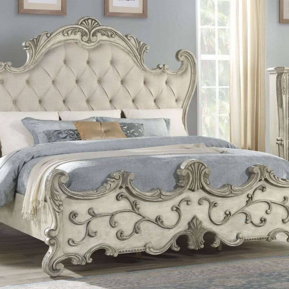 Braylee Antique White Wood Queen Bed With Fabric Headboard By Acme 743 00 Fabric Headboard Arched Headboard Royal Furniture