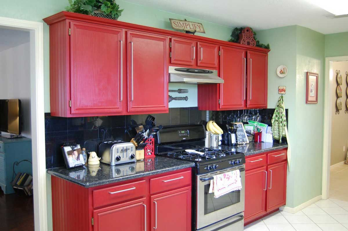 Chic Red Kitchen Cabinets On Modern Design Red Kitchen Cabinets Kitchen Cabinets And Cupboards Mobile Home Kitchen Cabinets