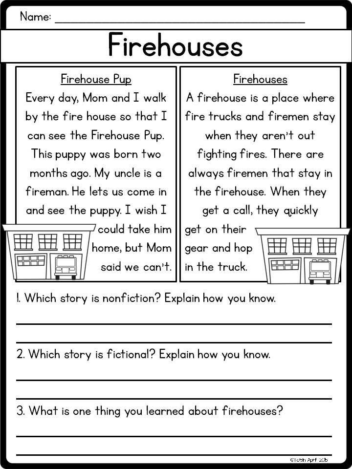 Comparing Fiction And Nonfiction Rl15 A Kindergarten 1st Grade
