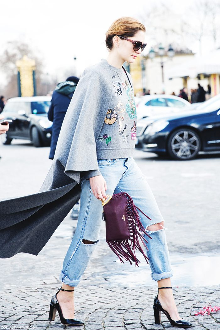 Sofia Sanchez Barrenechea pairs her fringe bag with a statement sweatshirt and ripped jeans // #Fashion #StreetStyle