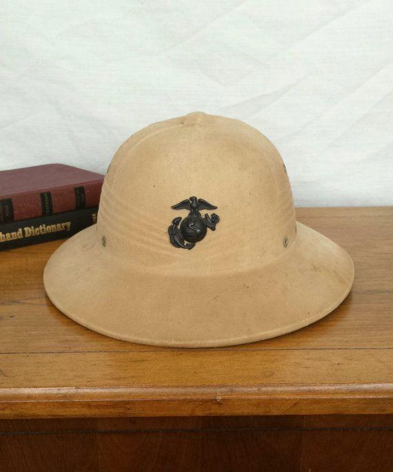 aa6c3802f Vintage Marine Corps Pith Helmet, USMC Vietnam War Tropical Helmet ...
