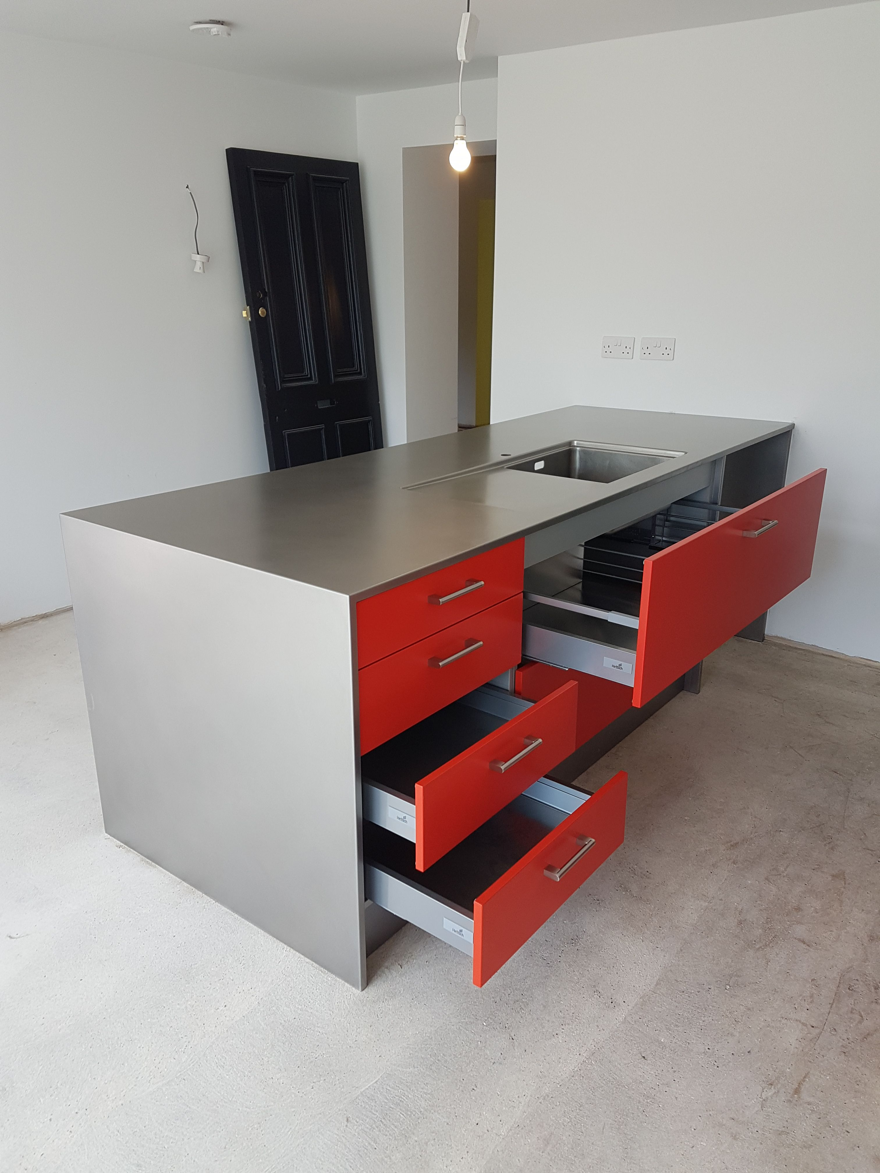 Hybrid Stainless Steel Kitchen Installation With Powder Coated Red Door And  Drawer Fascia Panels  1