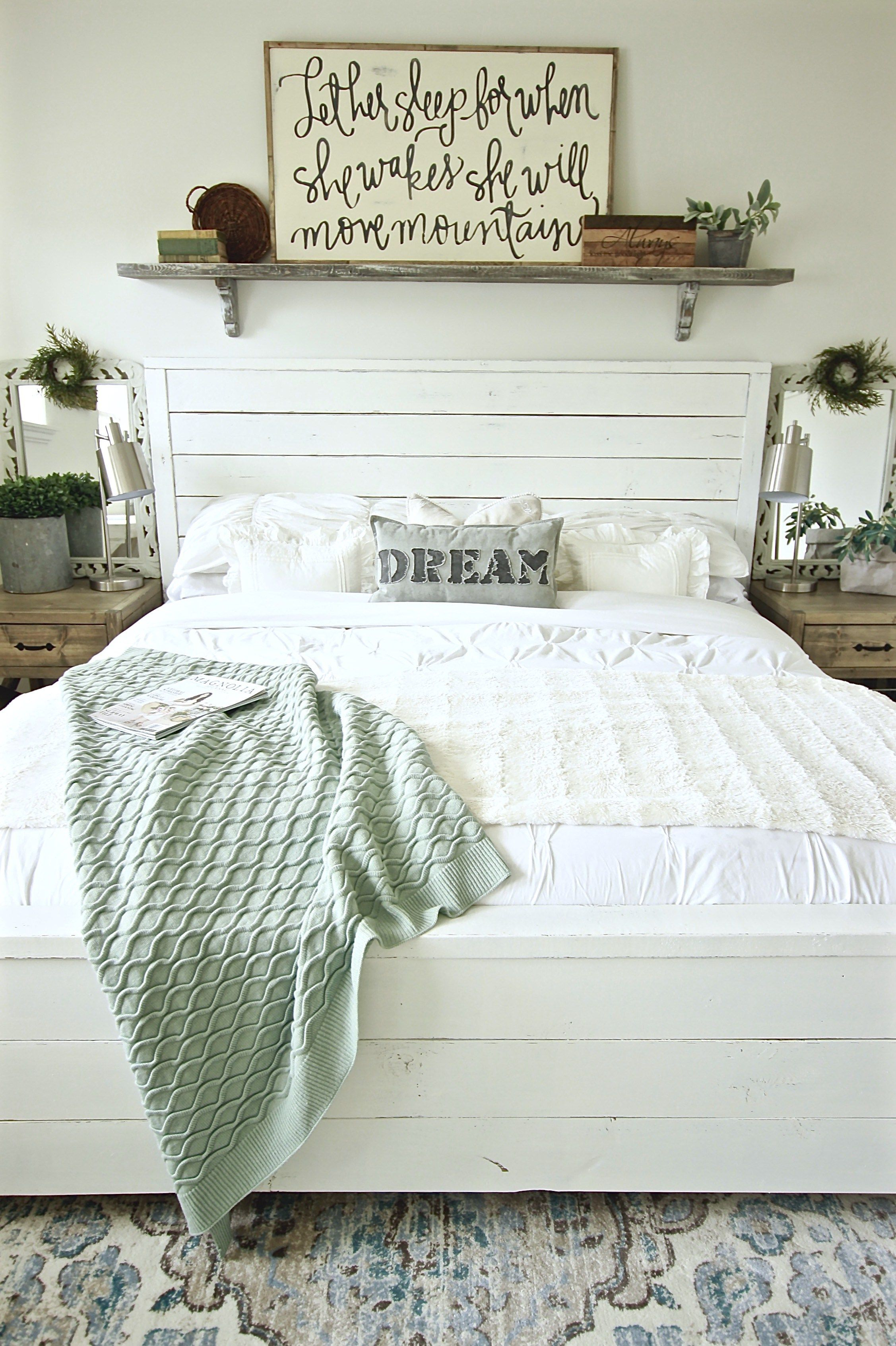 Our DIY Wall Shelf Above Our Bed  Under 15 bucks and takes minute to     Our DIY Wall Shelf Above Our Bed  Under 15 bucks and takes minute to make   Gorgeous Farmhouse Master Bedroom WhiteonWHiteonWhite  www theruggedrooster com