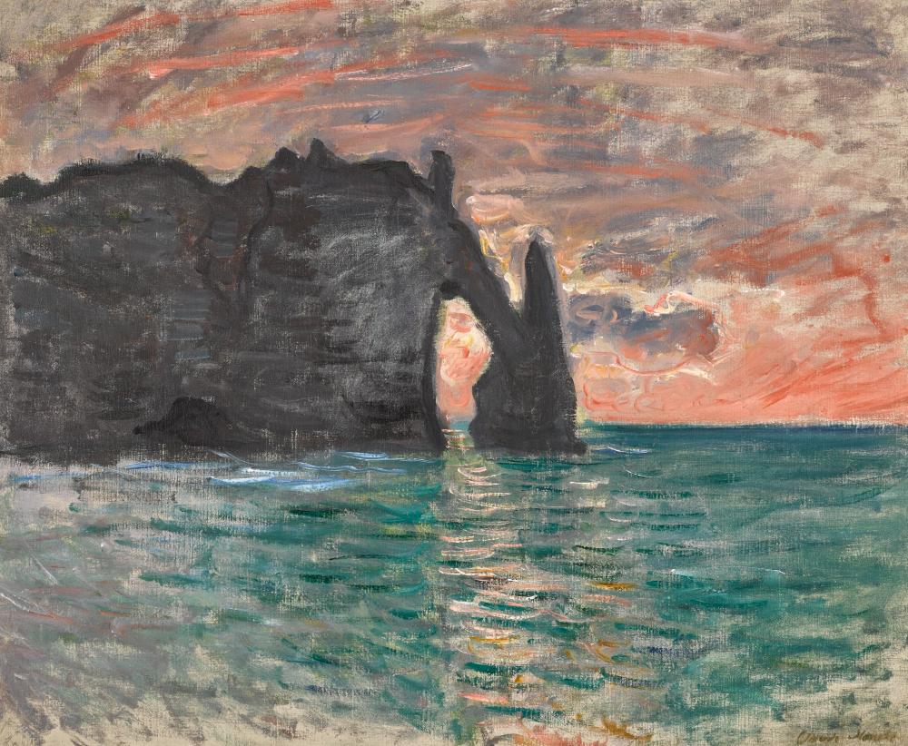 Claude Monet 1840 - 1926 ÉTRETAT, COUCHER DE SOLEIL Stamped Claude Monet  (lower right) Oil on canvas 23 3/4 by 29 in. 60.2 by 73.7 c… | Claude  monet, Monet, Art day