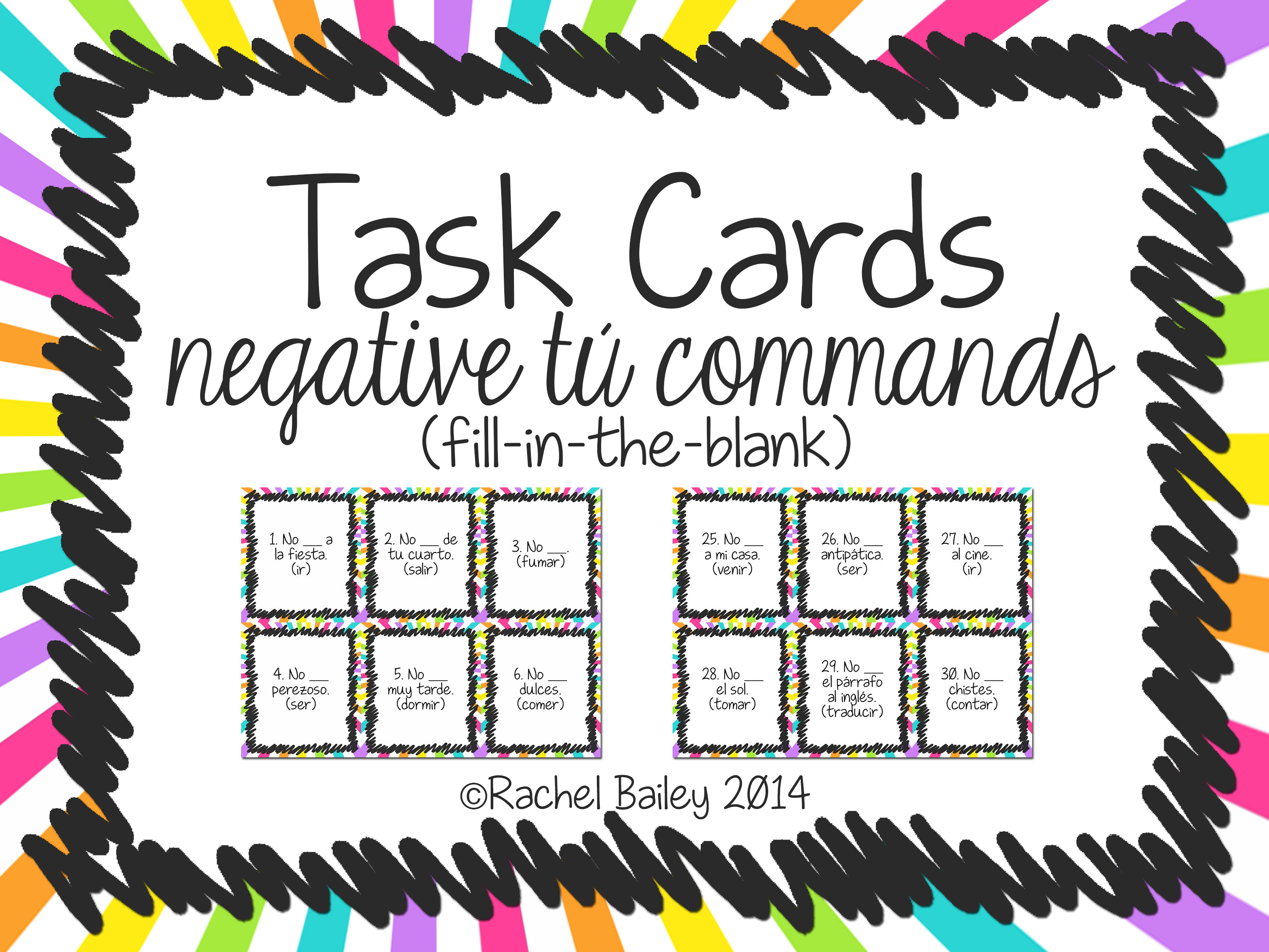Negative Tu Commands Task Card Activity Fill In Blank