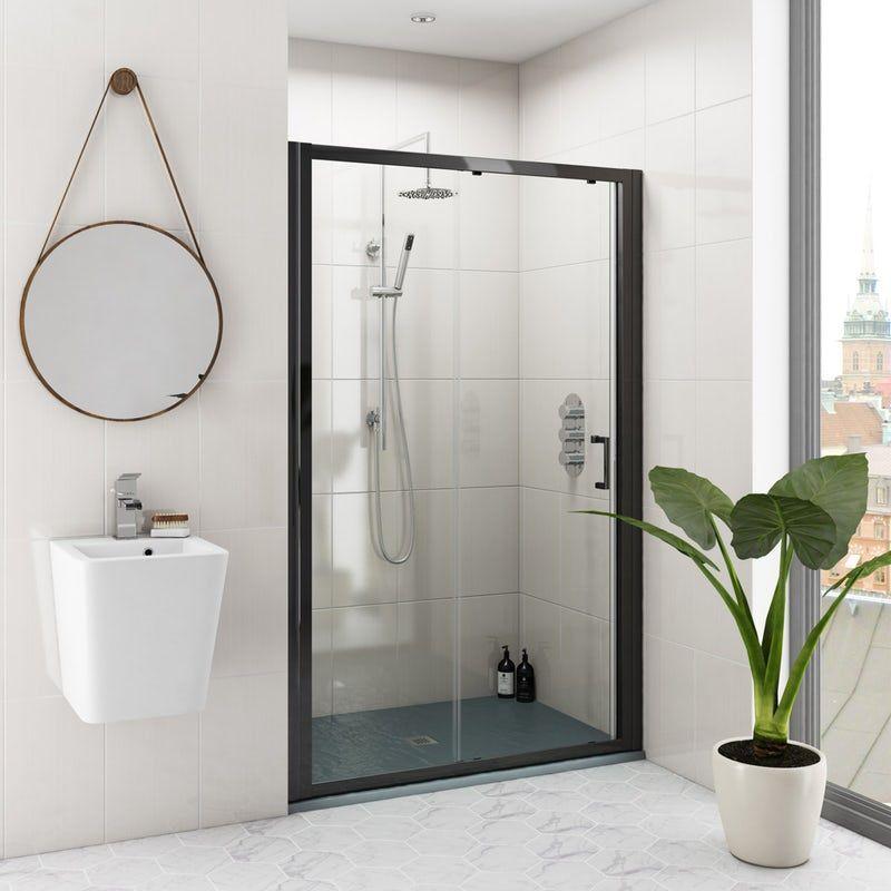 Mode Black 6mm Sliding Shower Door With Grey Slate Effect Tray 1200 X 800 Shower Doors Sliding Shower Door Black Shower Doors