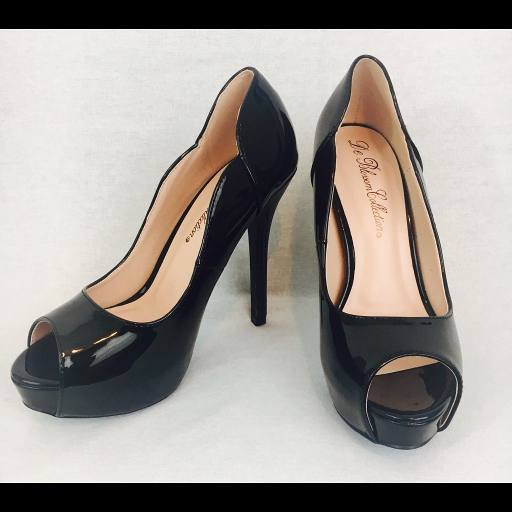 Black Patent Leather Open Toe Shoes