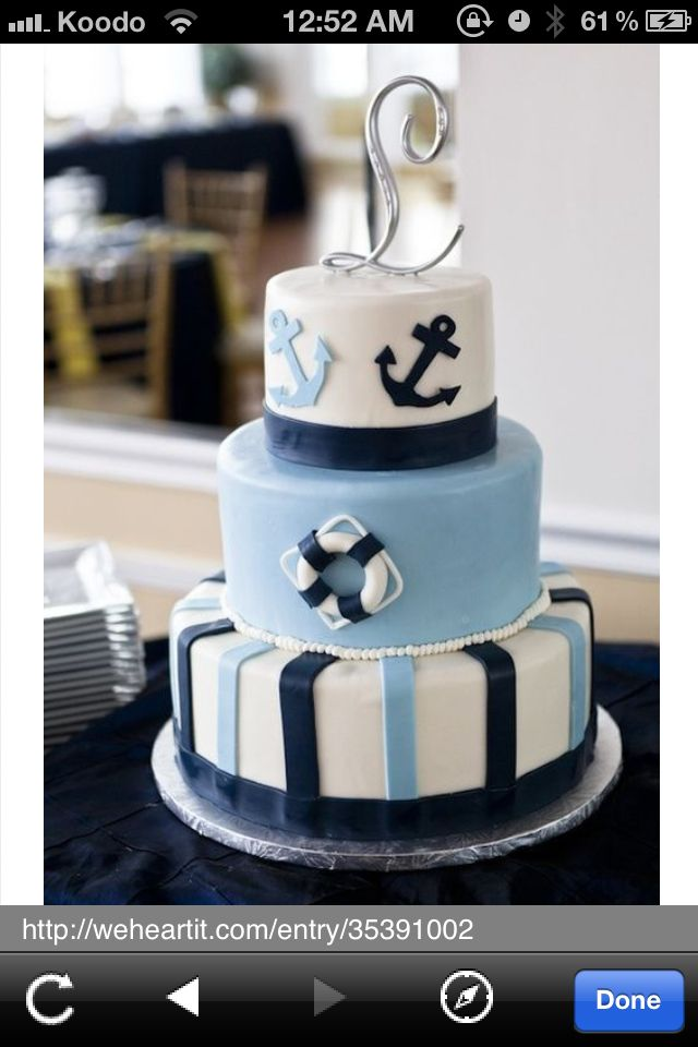 Beautiful anchor cake  OH MY GOD! I WANT THIS! But small c: